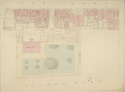 [Drawn plan of Marlborough House and garden and the several houses on the south side of Pall Mall to the fourth beyond the Marquis of Buckingham's House]